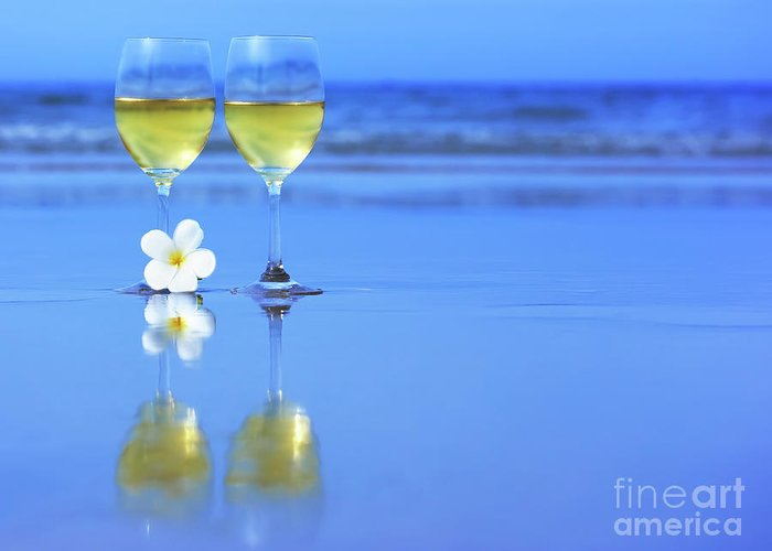 Wine Greeting Card featuring the photograph Two Glasses Of White Wine by MotHaiBaPhoto Prints