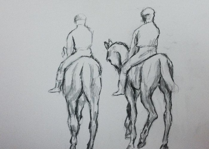 Horse Greeting Card featuring the drawing Two Horse by Hae Kim