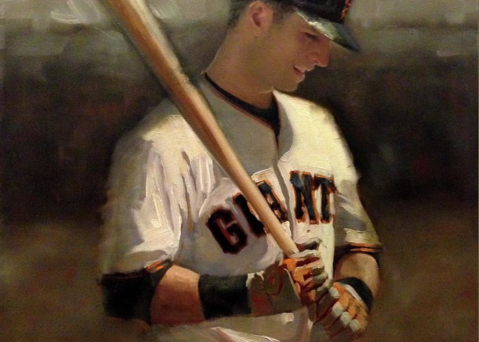 Buster Posey Greeting Card featuring the painting Untitled 2 by Darren Kerr
