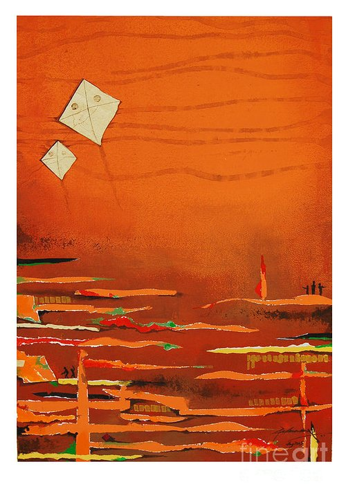 Abstract Greeting Card featuring the mixed media Untitled by Padmakar Kappagantula