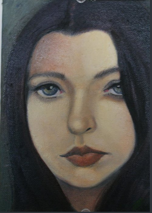 Girl Greeting Card featuring the painting That Stare by Toni Berry