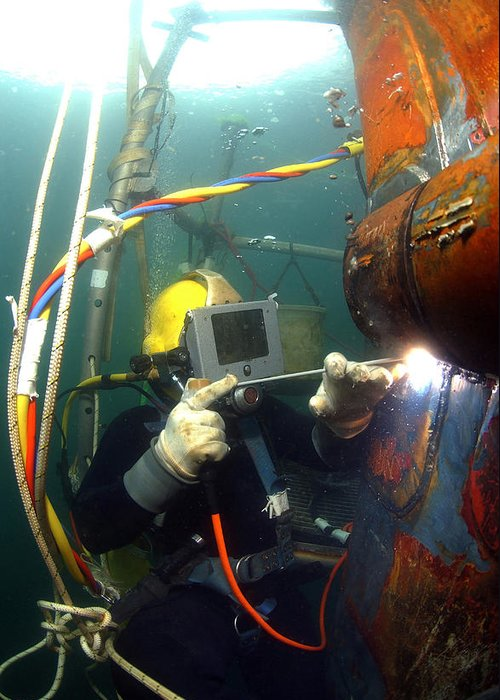 Adults Only Greeting Card featuring the photograph U.s. Navy Diver Welds A Repair Patch by Stocktrek Images