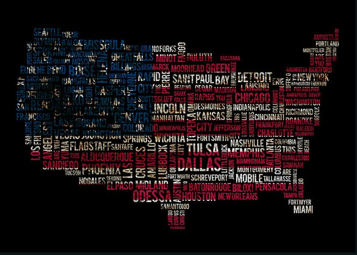 Usa Flag Greeting Card featuring the photograph Usa Main Cities Flag Map by Cedric Darrigrand