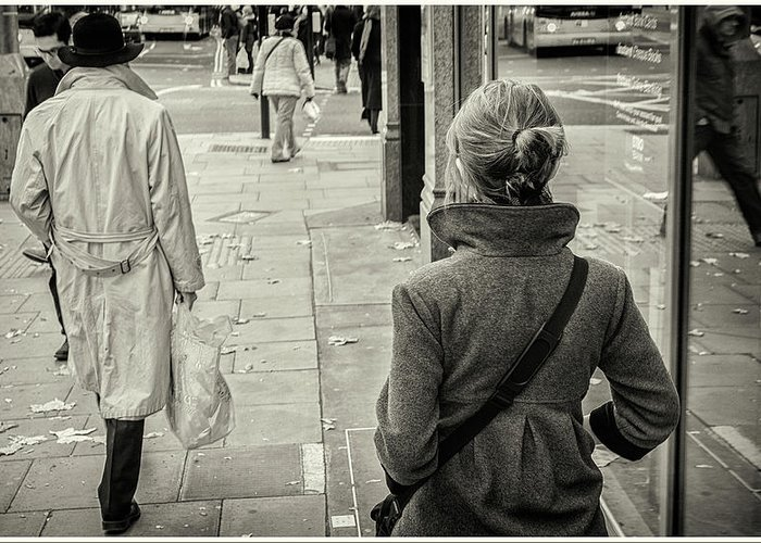Black And White Greeting Card featuring the photograph Walking by Stewart Marsden