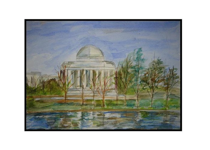 Dc Views In Watercolor Greeting Card featuring the greeting card Washington View by Angela Puglisi