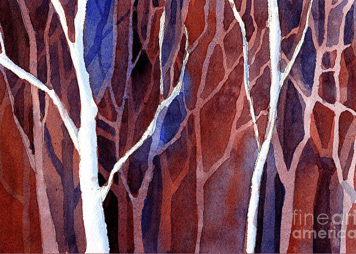 Art For House Greeting Card featuring the painting Watercolor Painting Of Trees In Forest. Landscape Painting Of T by Ryan Fox
