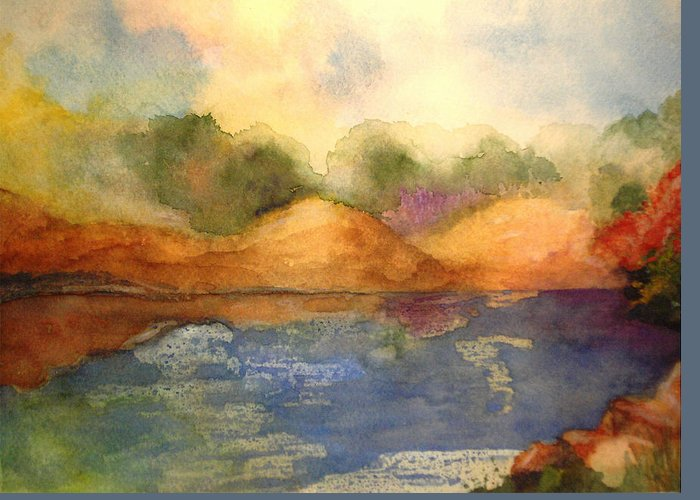 Landscape Greeting Card featuring the painting Whimsy by Vivian Mosley