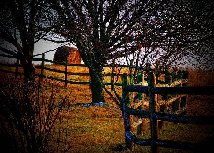 Hayroll Greeting Card featuring the photograph Winding Fence 2 by Joyce Kimble Smith