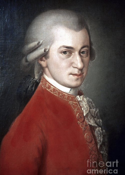 18th Century Greeting Card featuring the photograph Wolfgang Amadeus Mozart by Granger