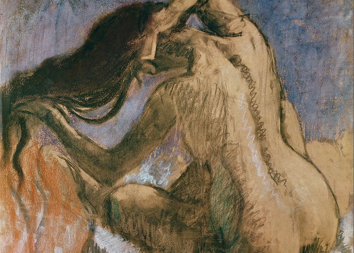 Woman Combing Her Hair Greeting Card featuring the pastel Woman Combing Her Hair by Edgar Degas
