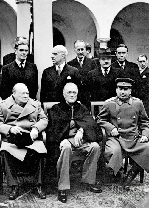 1945 Greeting Card featuring the photograph Yalta Conference, 1945 by Granger