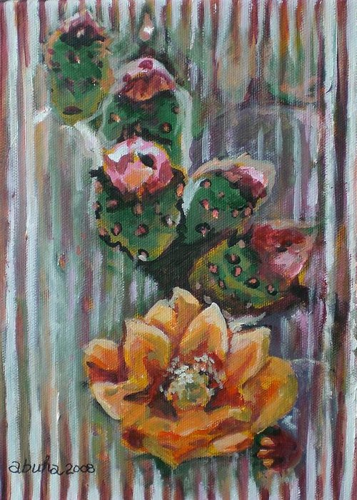 Cactus Greeting Card featuring the painting Yellow Cactus Blossom by Aleksandra Buha