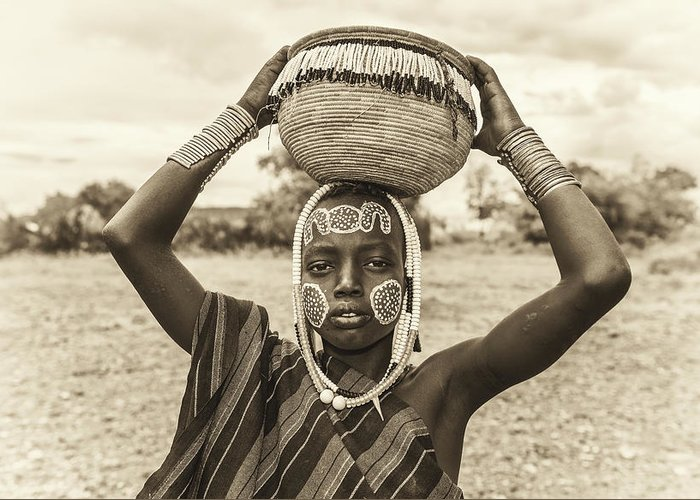 Mago Greeting Card featuring the photograph Young Boy From The African Tribe Mursi, Ethiopia by Miroslav Liska
