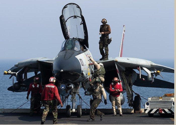 Grumman Greeting Card featuring the photograph An F-14d Tomcat On The Flight Deck by Gert Kromhout