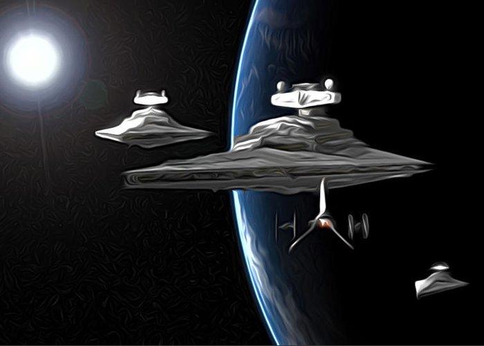 Star Wars Greeting Card featuring the digital art Star Wars The Trilogy Art by Larry Jones