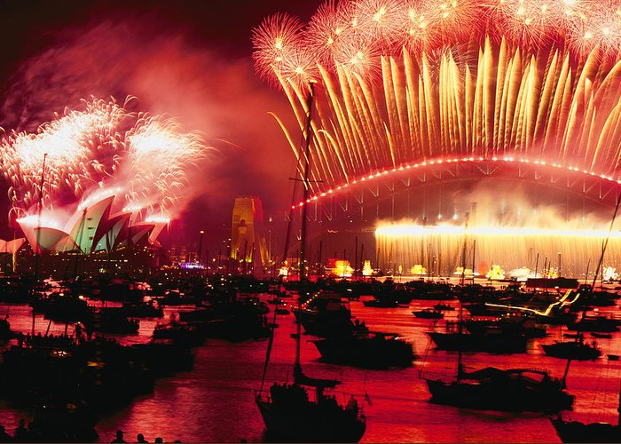 Color Image Greeting Card featuring the photograph 20 Tons Of Fireworks Explode by Annie Griffiths