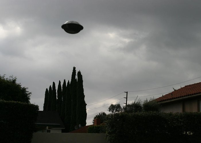 Alien Greeting Card featuring the photograph 2004 Real Ufo Evidence by Michael Ledray