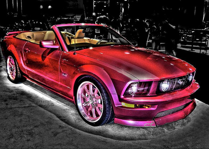 2005 ford mustang gt convertible color and black and white greeting card for sale by sarah e. Black Bedroom Furniture Sets. Home Design Ideas