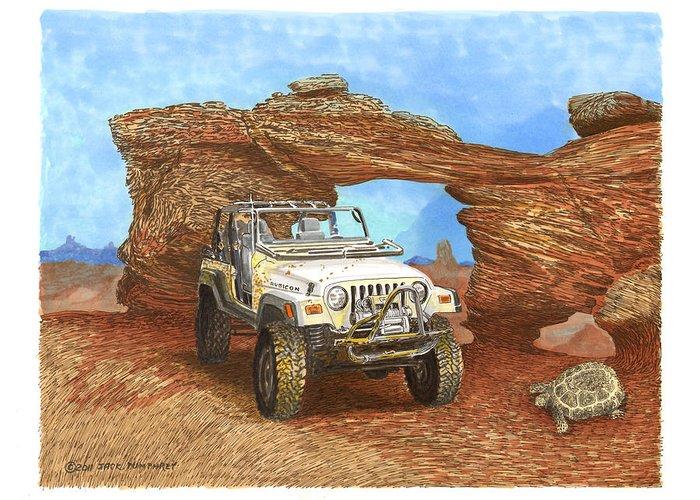 F2005 Jeep Rubicon 4 Wheeler Greeting Card featuring the painting 2005 Jeep Rubicon 4 Wheeler by Jack Pumphrey