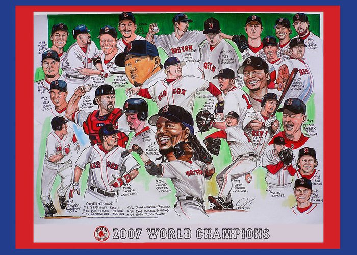 Mbl Greeting Card featuring the painting 2007 World Series Champions by Dave Olsen