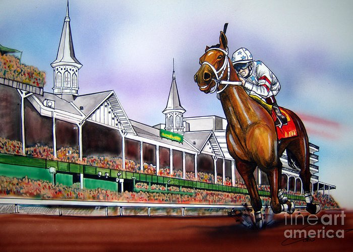 Kentucky Derby Greeting Card featuring the painting 2008 Kentucky Derby Winner Big Brown by Dave Olsen