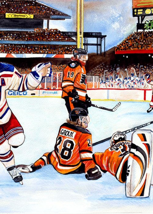 New York Rangers Greeting Card featuring the painting 2012 Bridgestone-nhl Winter Classic by Dave Olsen