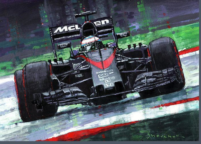 2015 mclaren honda f1 austrian gp alonso greeting card for sale