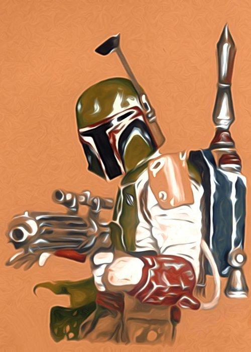 Star Wars Greeting Card featuring the digital art Star Wars Episode 1 Art by Larry Jones