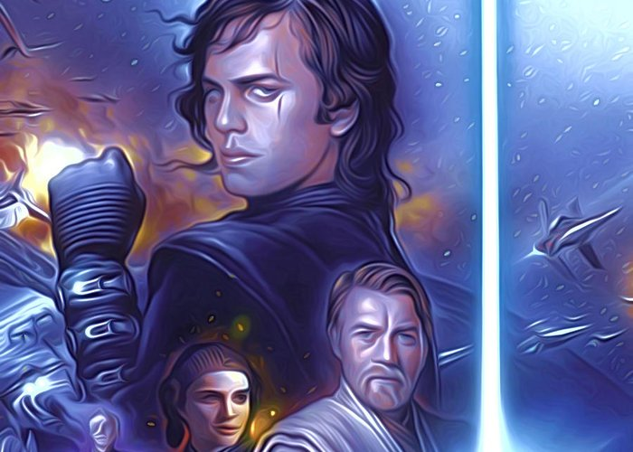 Star Wars Greeting Card featuring the digital art Star Wars For Art by Larry Jones