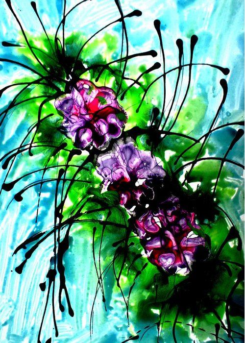Greeting Card featuring the painting The Divine Flower by Baljit Chadha