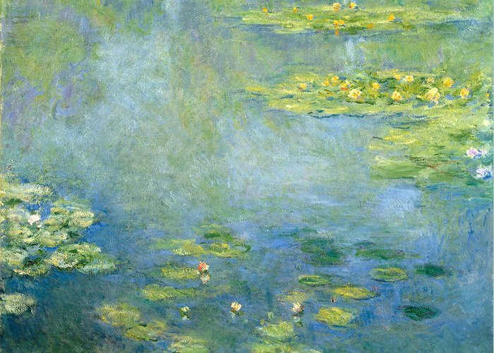 Claude Monet Greeting Card featuring the painting Waterlilies by Claude Monet
