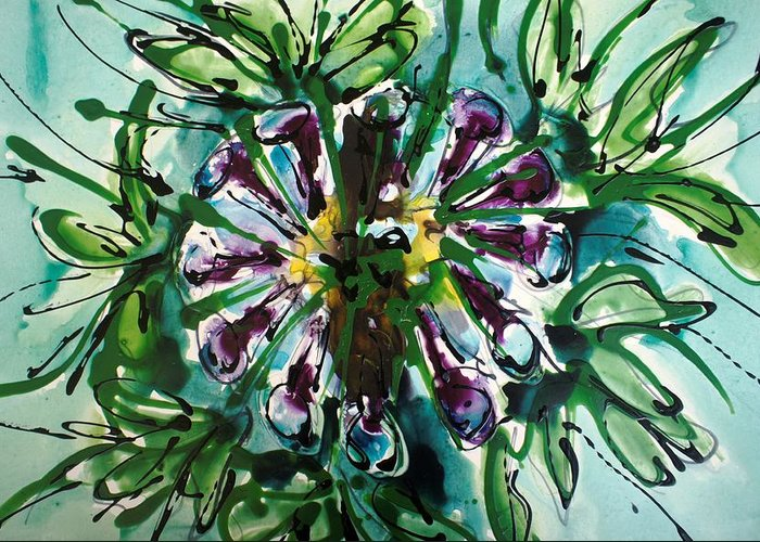 Floral Greeting Card featuring the painting Heavenly Flowers by Baljit Chadha