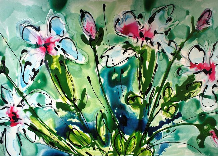 Flowers Greeting Card featuring the painting Heavenly Flowers by Baljit Chadha