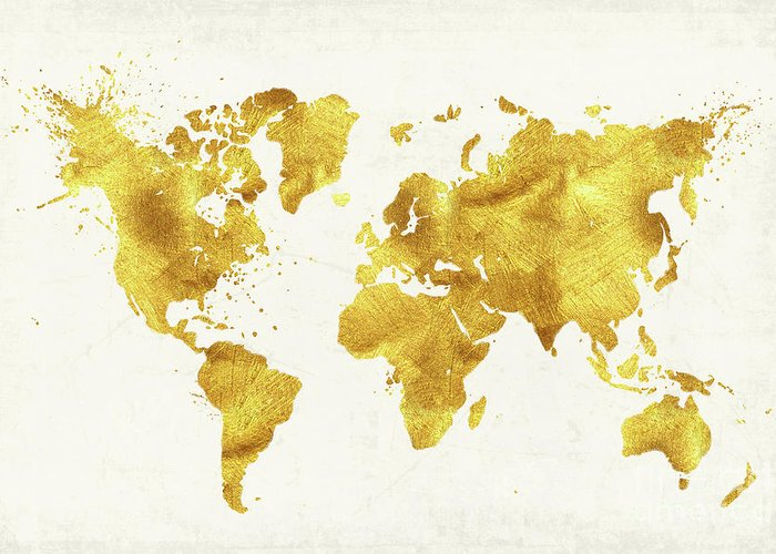 Map To Gold 24 Karat World, Gold World Map Greeting Card for Sale by Tina Lavoie Map To Gold