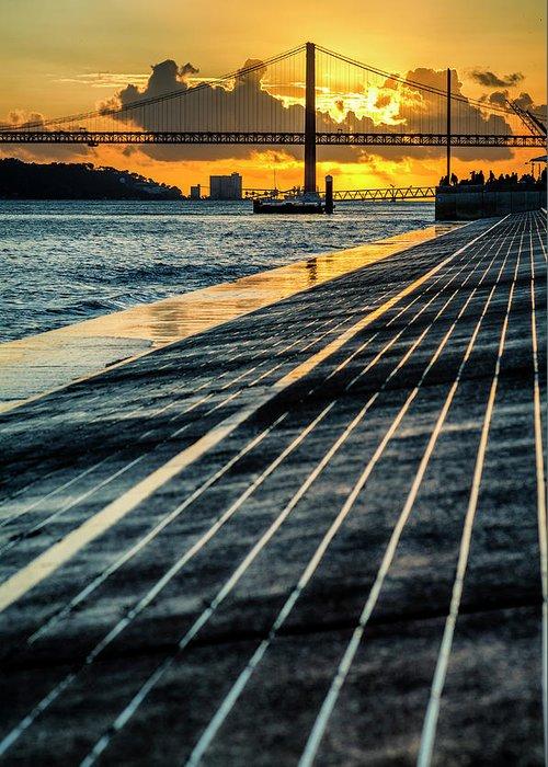 25 De Abril Bridge Greeting Card featuring the photograph 25 De Abril Bridge In Lisbon. by Pablo Lopez