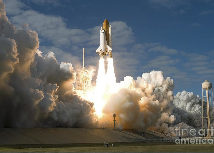 Taking Off Greeting Card featuring the photograph Space Shuttle Atlantis Lifts by Stocktrek Images