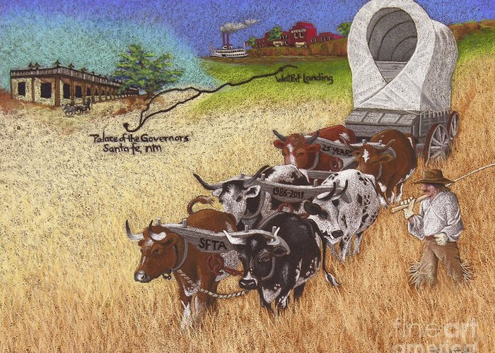 Twenty Greeting Card featuring the pastel 25th Anniversary Santa Fe Trail Association by Tracy L Teeter