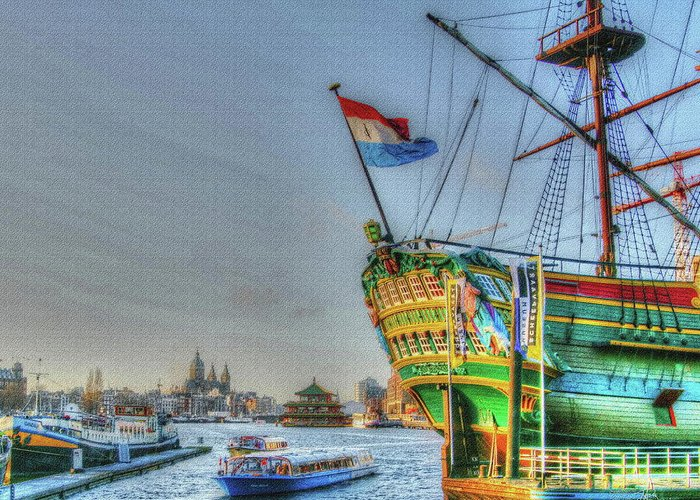 Amsterdam Greeting Card featuring the digital art 264 Amsterdam by Mark Brooks