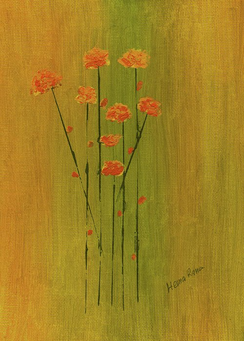 Minimalism Greeting Card featuring the painting Abstract Flowers by Hema Rana