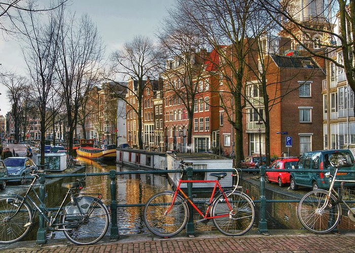 Amsterdam Greeting Card featuring the digital art 274 Amsterdam by Mark Brooks