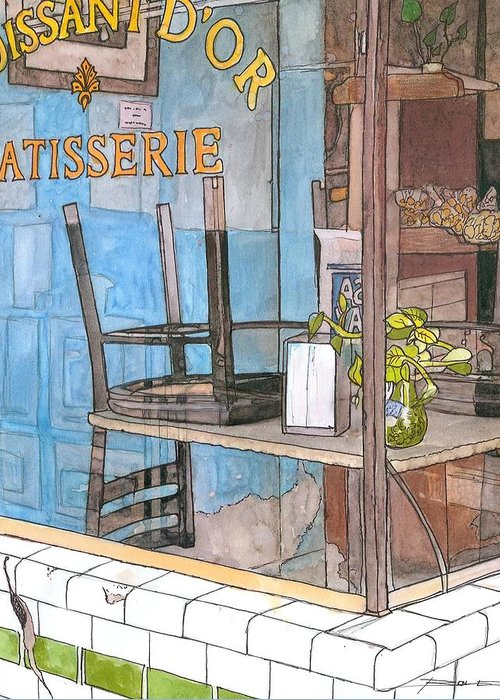 New Orleans Greeting Card featuring the painting 29 Croissant D'or Patisserie by John Boles