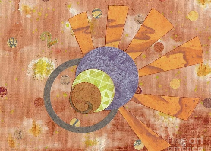 Orange Greeting Card featuring the mixed media 2life by Desiree Paquette