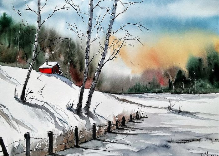 Greeting Card featuring the painting A Classic Winter by James Lagasse