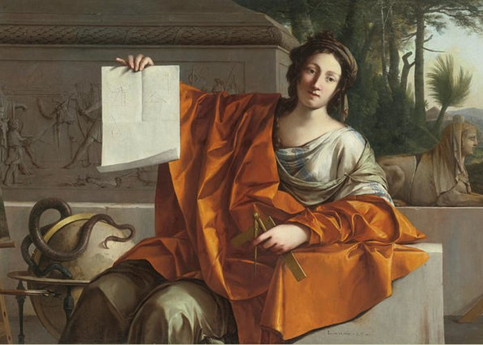 Laurent De La Hyre (french Greeting Card featuring the painting Allegory Of Geometry by MotionAge Designs