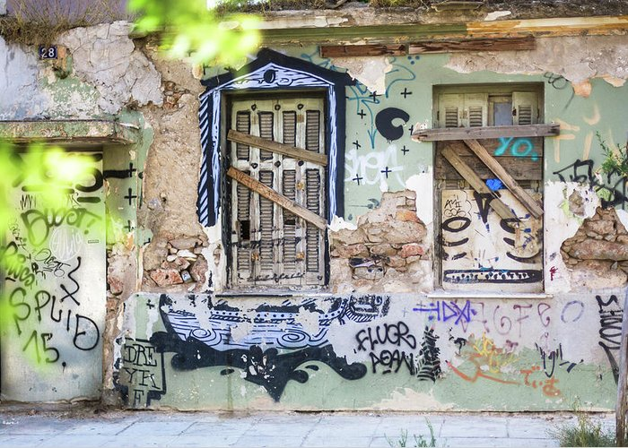 Athens Greeting Card featuring the photograph Athens Graffiti by Chantelle Flores