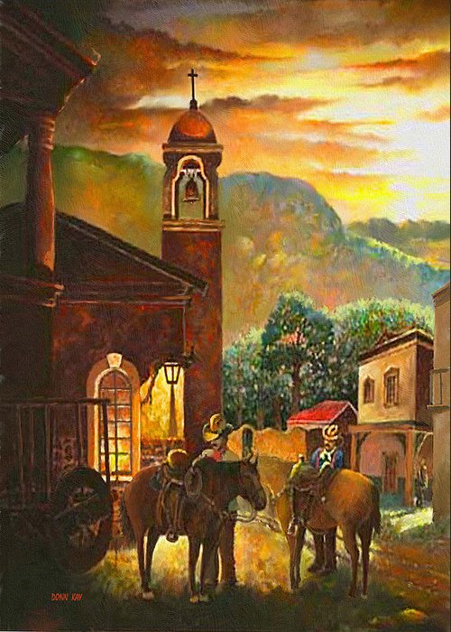 New Mexico Texas Cowboys Horses Mexican Town Spanish Mission Greeting Card featuring the painting Back To The Herd by Donn Kay