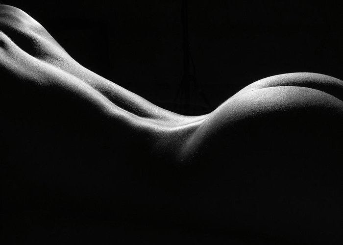 Black And White Greeting Card featuring the photograph Black And White Nude by David Quinn