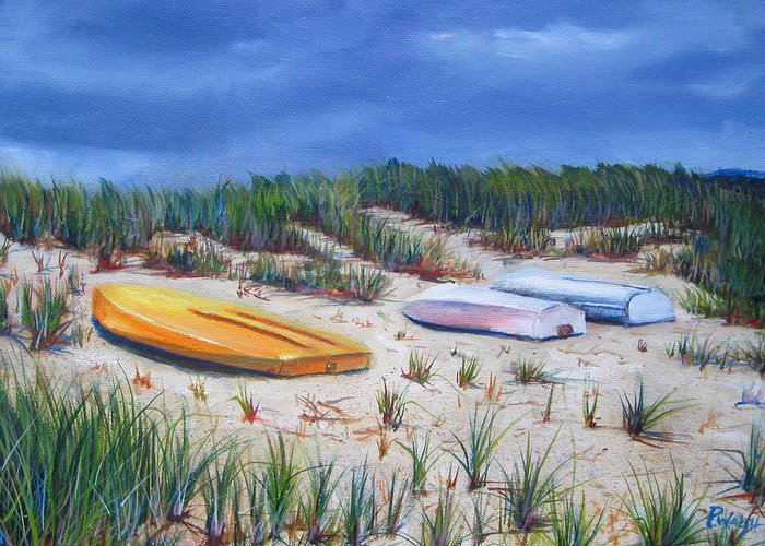 Cape Cod Greeting Card featuring the painting 3 Boats by Paul Walsh