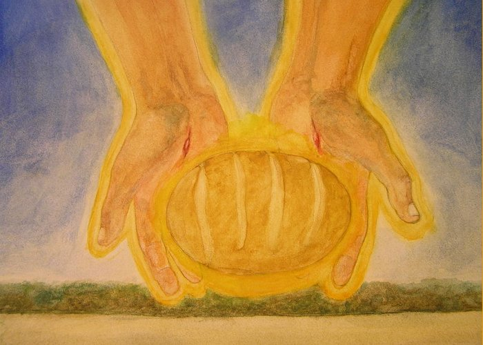 Loaf Of Bread Greeting Card featuring the painting Bread From Heaven by Nigel Wynter