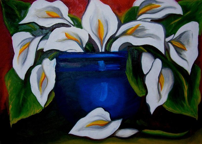 Calla Lilies In Blue Pot Greeting Card featuring the painting Calla Lilies by Misty VanPool